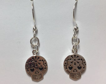 925 Sterling Silver Plated Sugar Skull Earrings