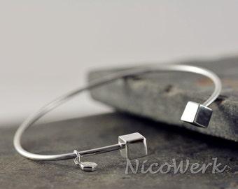 Silver plain Bangle Cuff Bracelet 925 ladies jewelry gift 364