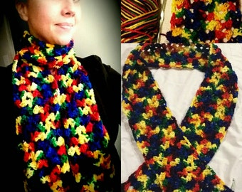 Rainbow Crocheted Scarf
