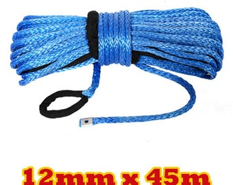 Winch Rope Sk75 Synthetic Fibre 12mm x 45m 4WD Recovery