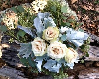 Romantic Soft White Rose Arrangement