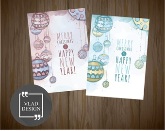 """Two 5"""" x 7"""" Watercolor winter style cards A5 format Christmas balls cards DIY Printable cards Digital card New year card Greetings cards"""