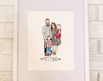 Custom Watercolor Family Portrait Illustration