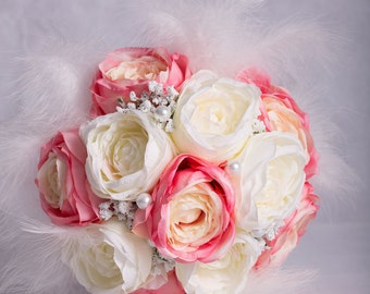 Tea Rose with Feather and Pearls Hand-Tied Wedding Bouquet