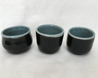 Set of three Black & Blue Tea Bowls