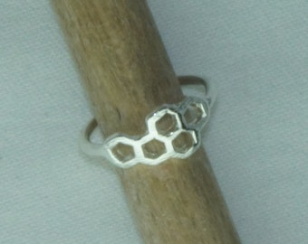 Honeycomb ring,silver plated bee ring, hexagon ring, geometric ring, bumblebee ring