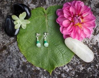Stones green earrings