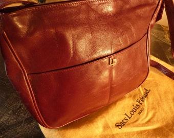 Vintage 80s LOUIS FERAUD Burgundy Leather Shoulder Bag w/Gold Hardware
