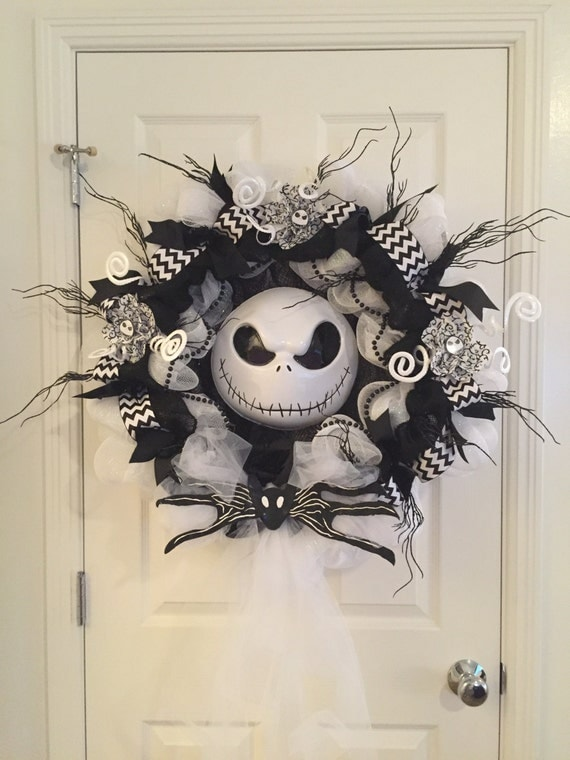 Xl nightmare before christmas wreath jack - Jack skellington decorations halloween ...