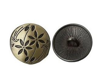 6 bronze round buttons 1.7 cm sewing scrapbooking stem of flower