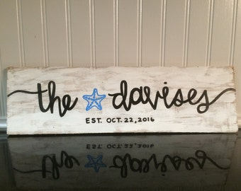 Family Name Hand Lettered Wood Sign