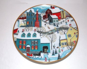 1992 Franklin Mint The American Folk Art Collection - Winter's Eve Skating Plate EX