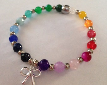 Rainbow Gemstone and Sterling Silver Bow charm