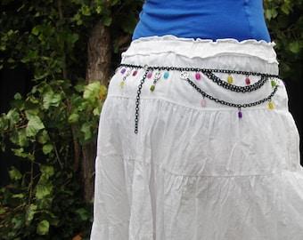Adjustable Chain Belt, Bohemian Belt, Boho Chain Belt, Candy Jade Belt, Bohemian Multicolour Jade Chain Belt, Peace Sign Boho Chain Belt