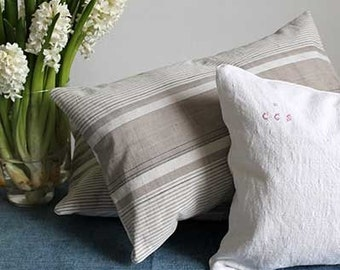 Scatter Cushion - Vintage Beige and Blue Stripe