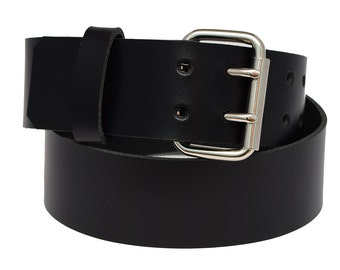 Handmade Genuine Black Leather Belt 2.5 inch width fitted with nickel plated roller buckle