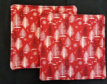 Red Hot Pads with White Trees and Snowflakes      Set of 2