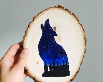 Wolf Wood Slab Painting