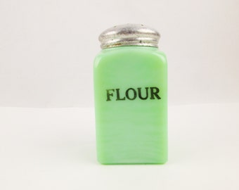 A 'Flour' Shaker - Jadeite Green Stove-top Container - 'McKee' Glass - Square Container - Unique Jade-ite Collector Piece