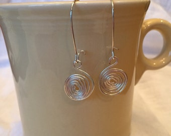 Hammered Swirl Drop and Stud Earring
