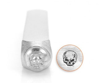 Gothic Design Metal Stamps,  Angry Skull Design Stamp 6mm Jewelry Craft