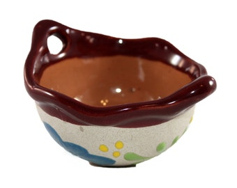 Painted Red Clay Salsa Bowl