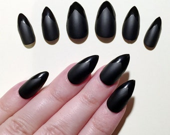 A set of hand painted false nails. Full cover. STILETTO. Matte and Gloss Black - Halloween. NEW UK