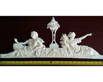 Large French Louis XVI Style Decorative Wall Furniture Applique Moulding Pediment White Unpainted Plastic Decoration