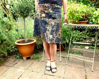 A Line Skirt - in winter greys and oranges - stretchy/lined/knee length/mini/warm/office capsule/smart/country