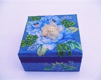 Jewelry box, ring box,  cobalt blue and yellow floral, little girls gift, beaded flower