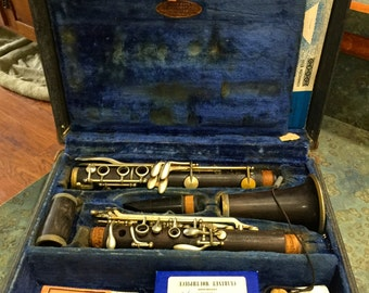 Vintage Noblet Paris Wood Clarinet Plus Extra Mouthpiece, Case and Lots of Sheet Music