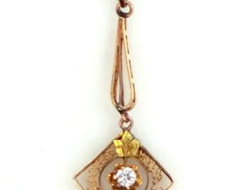 Victorian 14k Gold and Diamond Filigree Lavaliere
