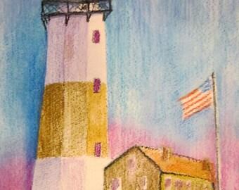 Montauk Lighthouse Original watercolor painting