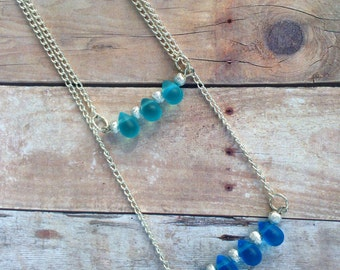 Multi layered necklace, blue glass teardrop beads, silver chain