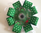 Green Polka Dots and Lace Christmas/ Holiday Collar Flower