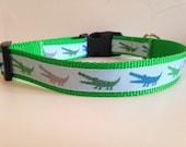 1 inch Blue Alligators on Green Nylon Summer Dog Collar
