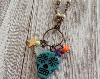 Sugar Skull Necklace, Czech Glass, Day of the Dead, Dias de Los Muertos, Halloween Jewelry