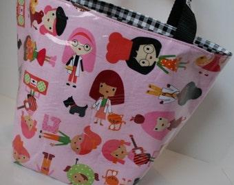 Pink Career Ladies Fabric Reusable Lunch Bag, Lunch Sack, Reusable Bag, Boot Bag, Picnic Bag