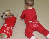 Dog pajamas,Dog Onesie, Baby Pajamas, Baby Onesie, Christmas dog pajamas,Christmas baby pajamas,Baby and Puppy onesie