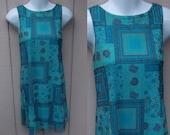 Vintage 90s Turquoise Blue Paisley Floral Stretch MESH Knit Mini Dress / Mini - Short Dress // Small to Medium