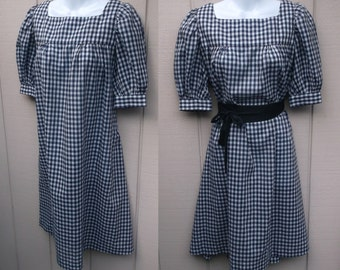 Vintage 70s Blue Gingham Smock dress w/ Puff Sleeves // sz Sml - Med