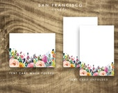 Floral Food Tent Cards or Place Cards | PRINTABLE Floral Baby Shower or Bridal Shower Buffet Folded Cards - Instant PDF Download