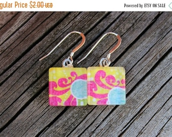 SALE REDUCED Pink and Yellow Patterned Print Glass Tile Earrings