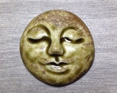 Large Smooth Face Ceramic Cabochon Stone in Earthy Green
