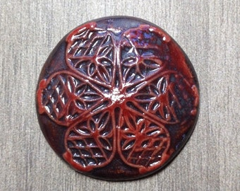 Large Filigree Ceramic Cabochon in Blood Iron