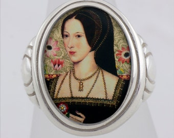 Anne Boleyn Tudor Royalty Sterling or Bronze Ring (Sizes 5-14 w/ half sizes)