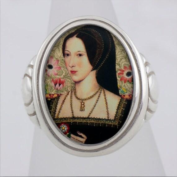 Anne Boleyn Tudor Royalty Sterling or Bronze Ring (Sizes 5-14 w/ half sizes)