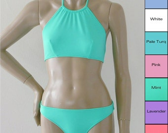 High Neck Halter Bikini Top and Full Coverage Bikini Bottom in Mint, Coral, Pink, Blue, Turquoise, White, Lavender Made To Order