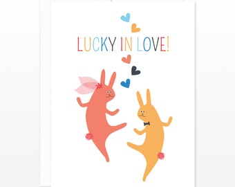 Cute Wedding Card, Lucky Rabbits, Anniversary Greeting Card, Engagement Card, Valentine's Day Card, Cute Bunny Card, Relationship Card