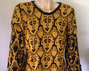 Sweater with faces, Medium/Large fine knit cotton sweater, waving hand and faces knit pullover, ladies gift, valentines day gift
